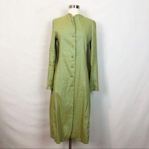 Lilith Paris Linen Blend Trench Coat Green Medium